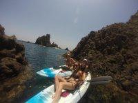 Lying in the kayaks
