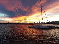 Puesta de sol en Valencia en barco