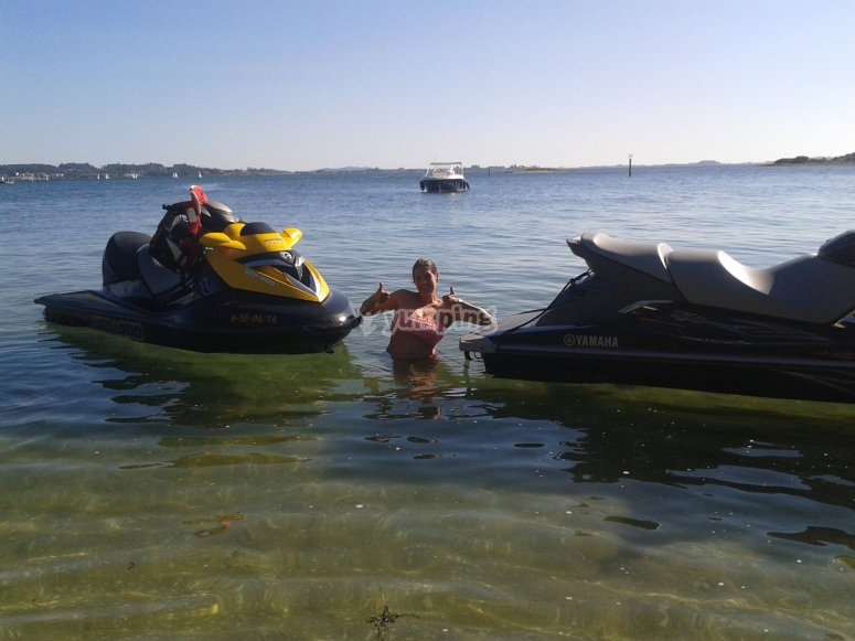 With jet skis