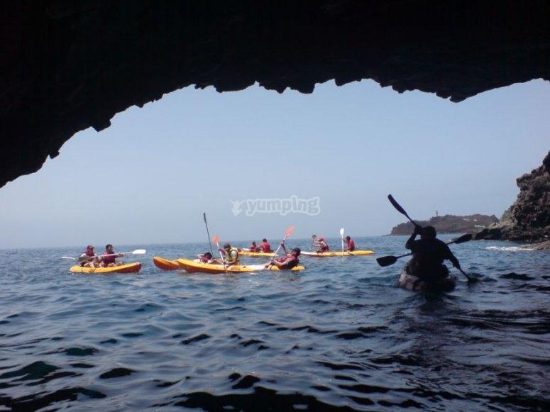 Sailing a kayak