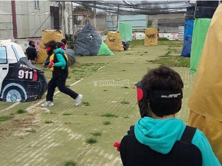 Little ones playing paintball
