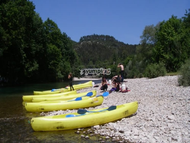 Canoes in the Sella river