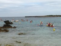 Kayaks competition in the sea
