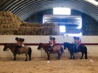 En la pista interior en clase de equitación