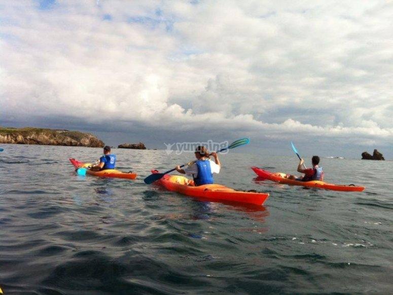 Kayaking along the coasts of Asturias