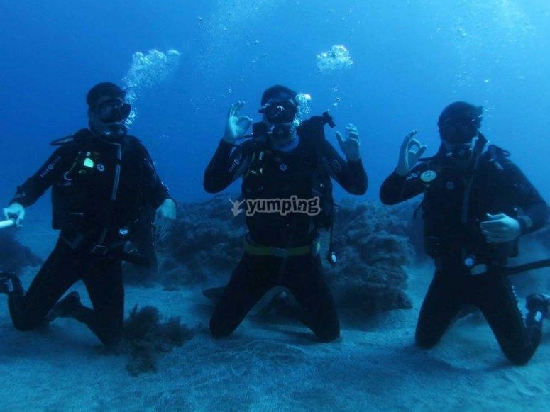 在加那利群岛自拍潜水