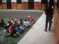 很大一群孩子接受马术课