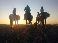 日落时穿越Sanlúcar的骑马