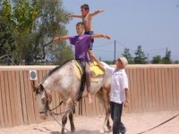 children keeping the balance on a horse
