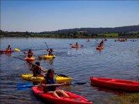 Kayaks acercándose a la orilla