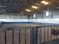 Indoor track where riding lessons are held