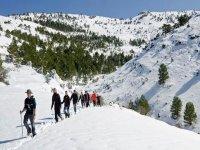 gente caminando por la nieve de las montanas