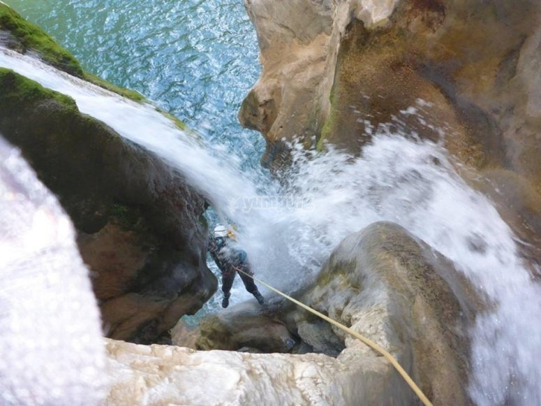 Rappelling in the green river