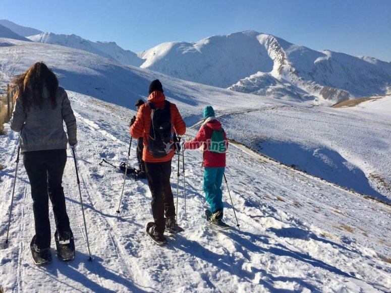 Family getaway with snowshoes