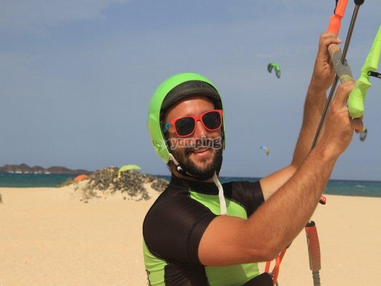 Disfrutando del viento en Fuerteventura