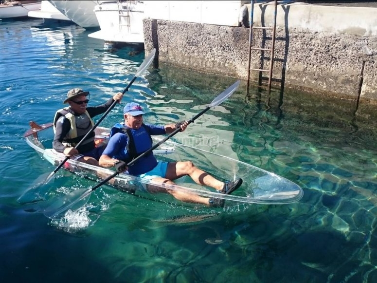 Sailing on a transparent kayak
