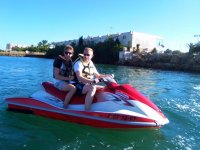 Sharing the two-seater jet ski