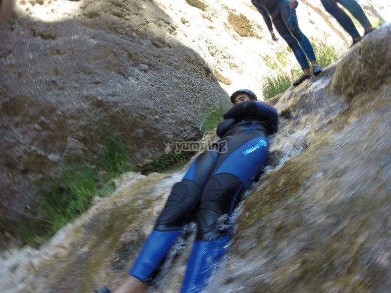 Waterslide in canyoning