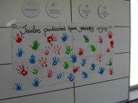 欢迎标志涂用双手学生