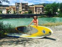 Con la tabla de paddle surf en Huesca