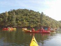 Departure in canoes