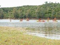 Playing on the kayaks