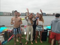 Enjoying the party on the boat