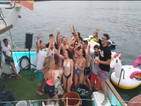 Laughter and dancing on the party boat