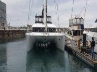 Our catamaran leaving the port