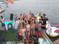 Mixed bachelor party in the party boat