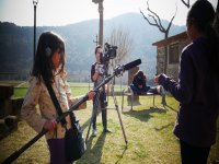 Rodando escena campamento en  Lleida
