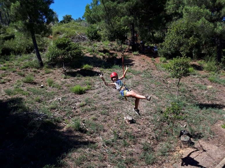 Zip line at the camp in Càceres