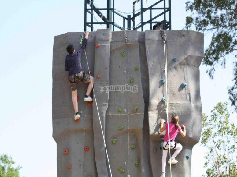 Climbing rock wall