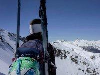 Skier looking at the horizon