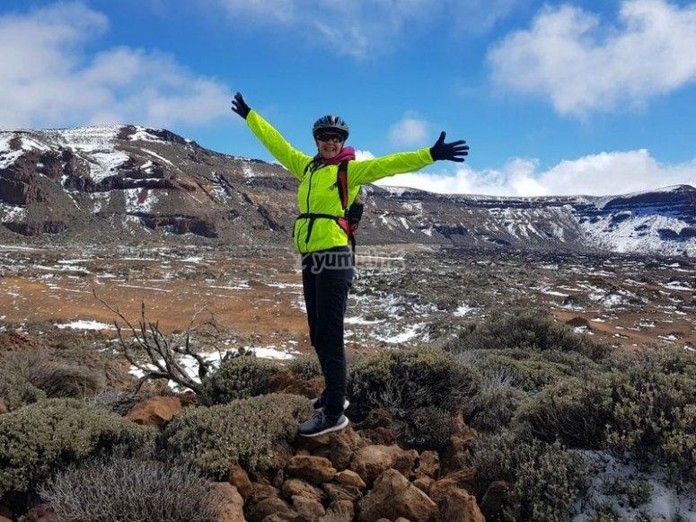Disfrutando de la ruta en BTT en Tenerife