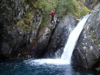 Leaping the waterfall of the ravine