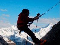 Snowy mountain climbing