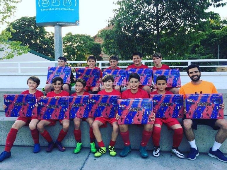 Jugadores del campus de futbol de Barcelona