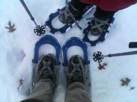 Feet with snowshoes