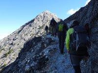 Hiking through the mountains