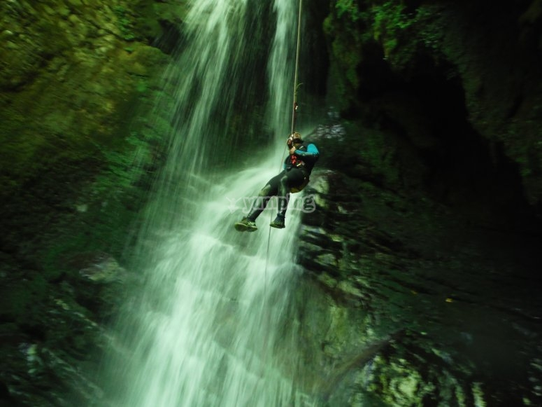 Descending the waterfall