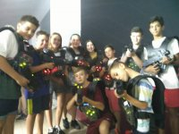 With the laser tag guns