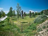torres de madera unidas con cuerdas en el jardin