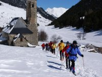 Going through the church with snowshoes