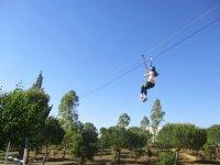 Descent in zip line in Huelva