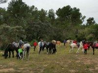 Reponiendo fuerzas durante la ruta a caballo