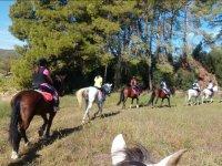Saliendo a caballo en fila