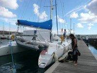 Preparando il catamarano