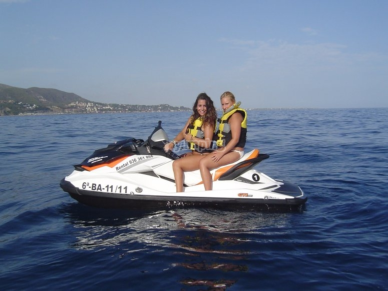 Two people on the jet ski