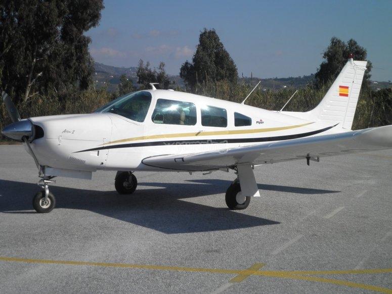 Volar en avioneta piper en Jerez